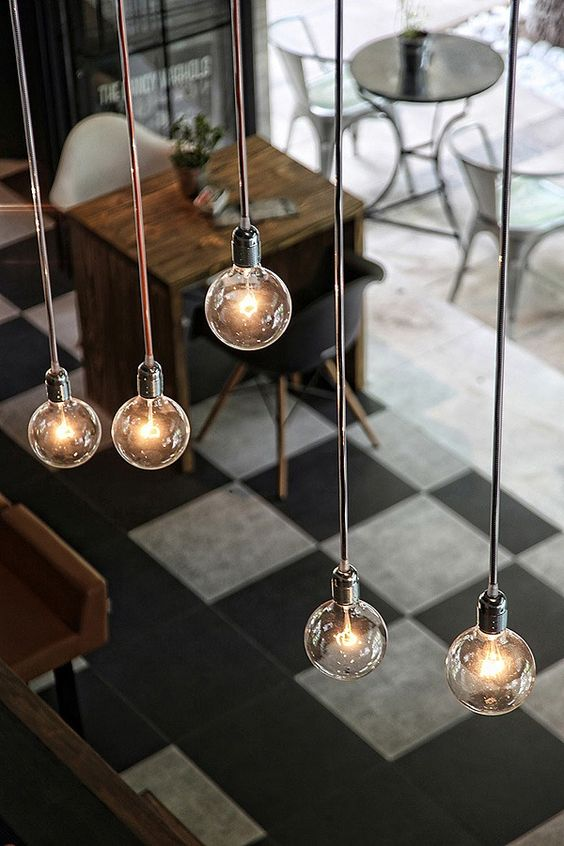 lampadario lampadine sospese stile industrial chic arredo ...