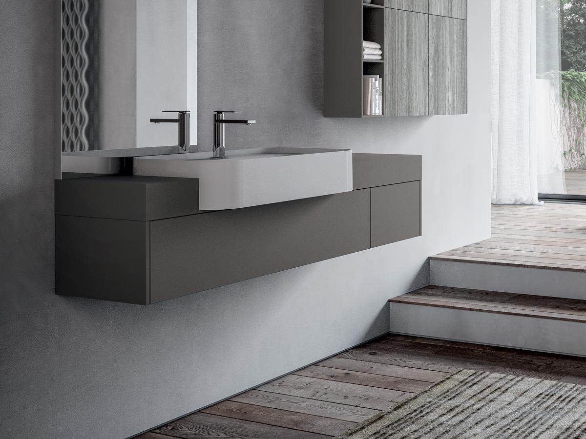 Cucina living open space pareti tortora - Mobile lavabo cucina ...