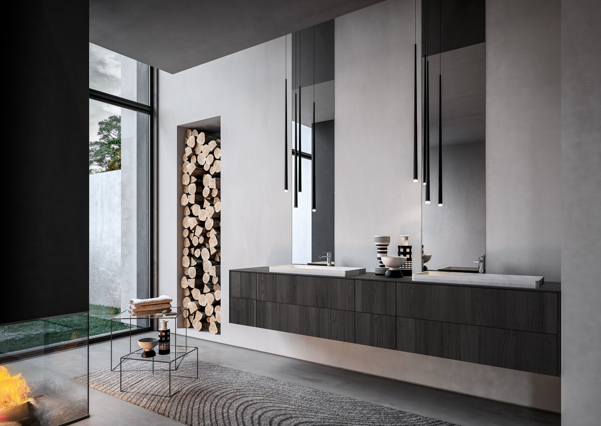 Come arredare un bagno nero legno teak sense aqua ideagroup arredo