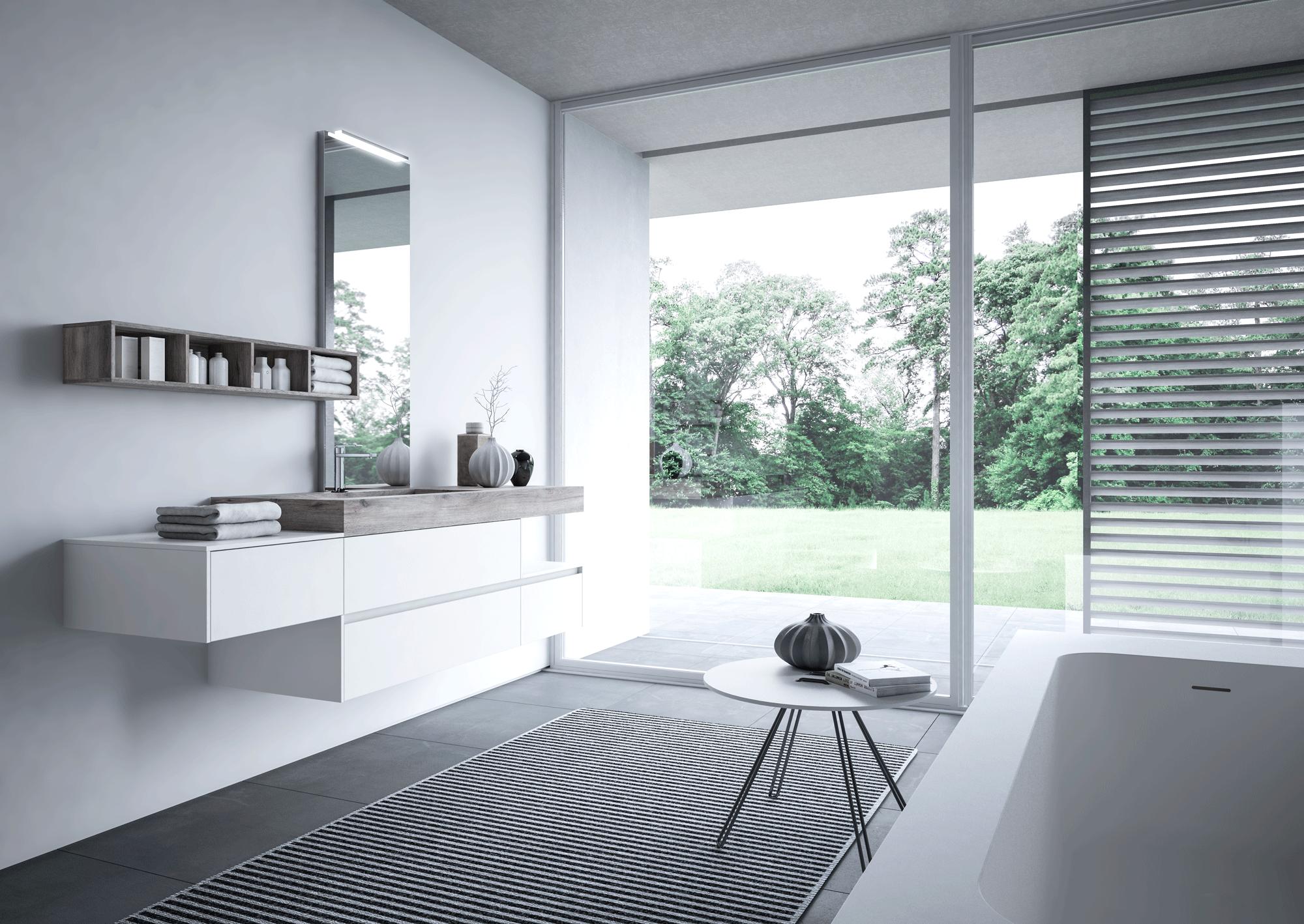 bagno total white e grigio: idee di arredo - Arredo Bagno Aqua