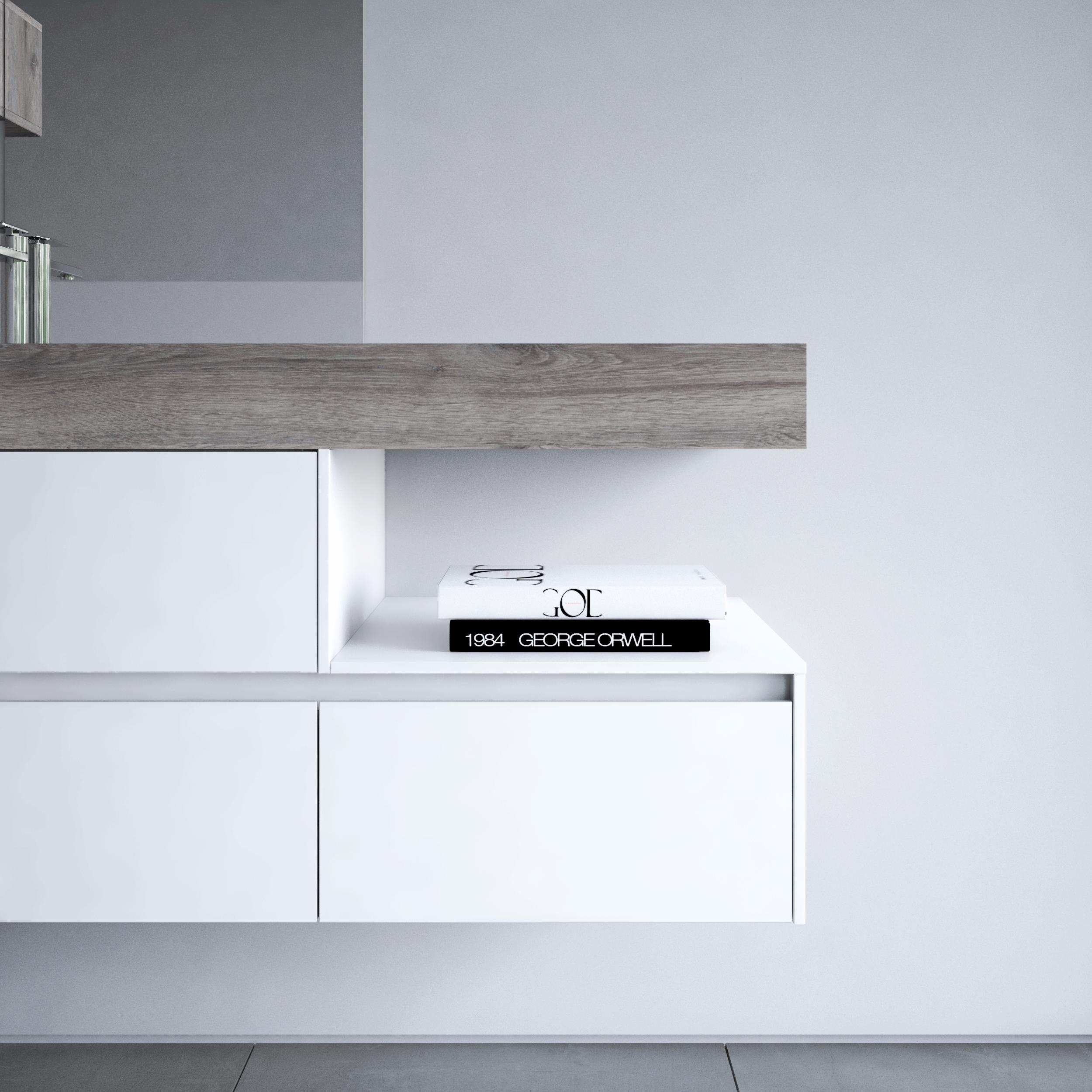 Bagno total white e grigio: idee di arredo