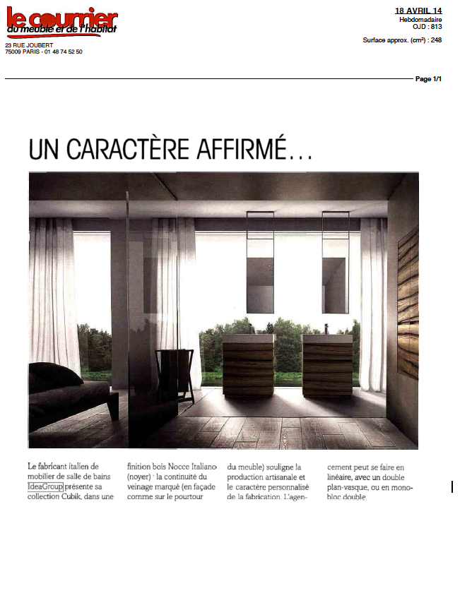 le courrier du meuble et de l 39 habitat pr sente cubik ideagroup. Black Bedroom Furniture Sets. Home Design Ideas