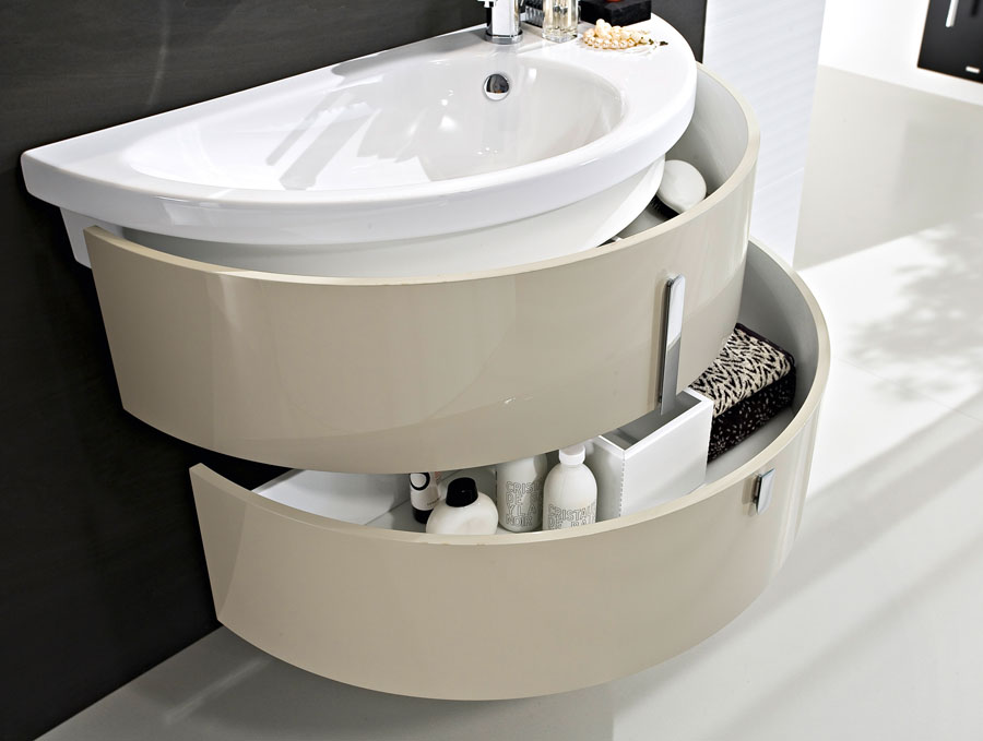 Modern cabinets with curved ceramic sink - IDEAGROUP