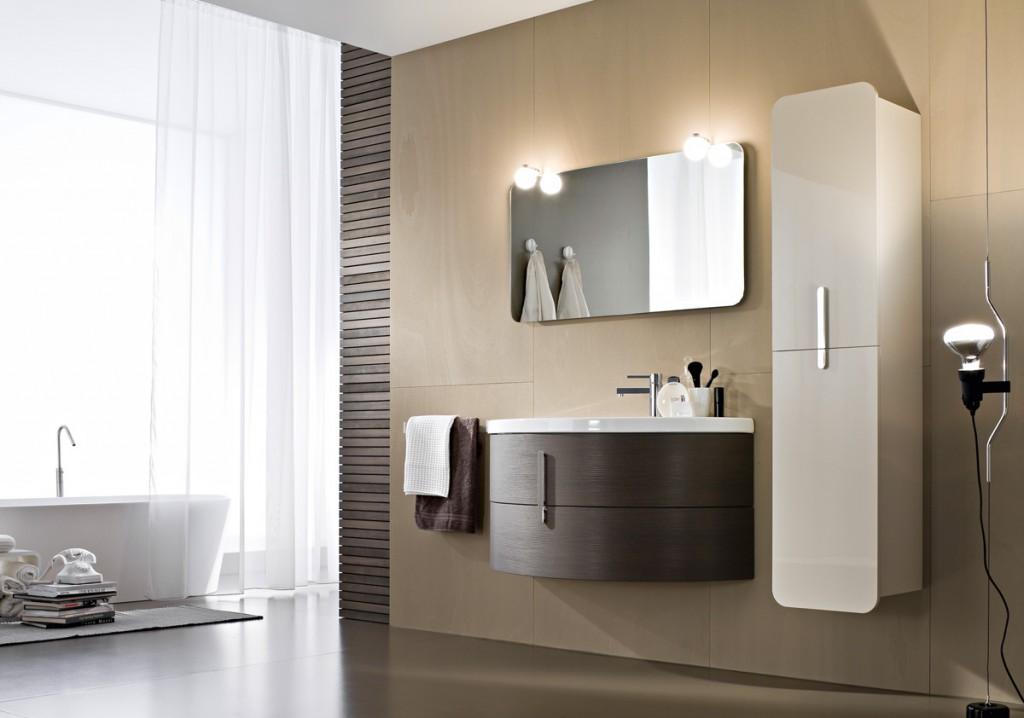 Mobili bagno con lavabo curvo in ceramica ideagroup - Il bagno group ...