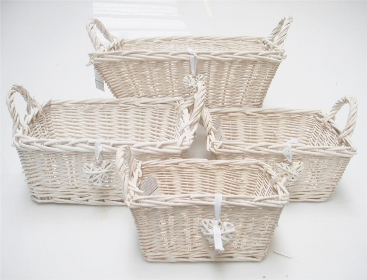 Shabby Chic Bathroom Accessories With Pretty Rectangle White French Shab Chic Wicker Crafts
