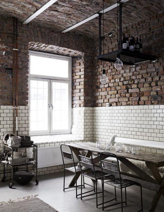 parete mattoni a vista stile industrial chic arredo bagno cucina ...