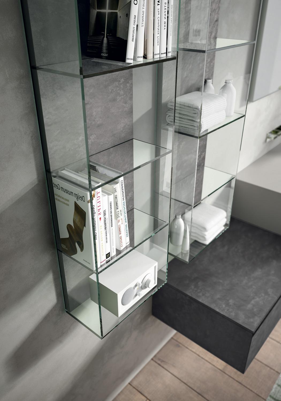 pensile in vetro con vani aperti - collezione arredo bagno cubik by idea