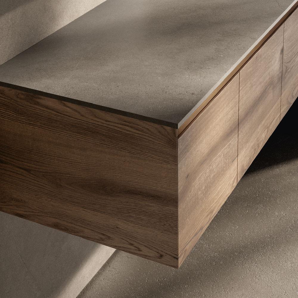 """Essenze legno con finitura sartoriale in """"biglia"""""""