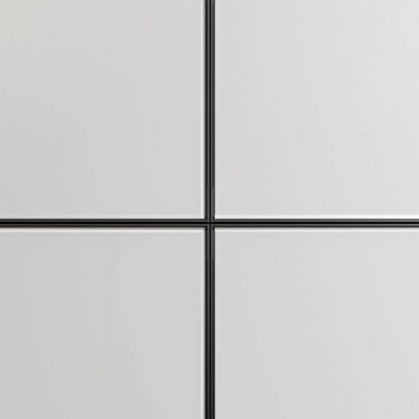 Frontali in alluminio nero e vetro acidato