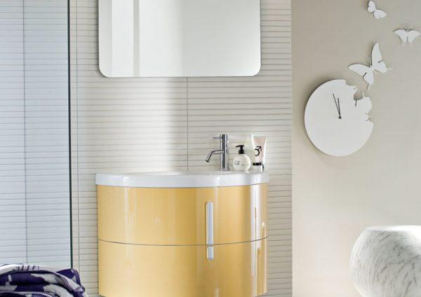Moon: mobili bagno con lavabo curvo in ceramica ideagroup