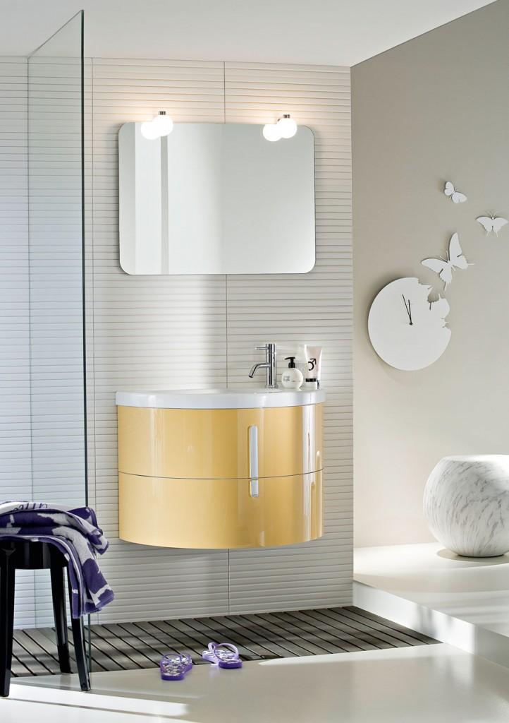Moon mobili bagno con lavabo curvo in ceramica ideagroup for Mobili piccoli bagno