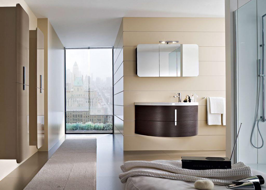 Moon mobili bagno con lavabo curvo in ceramica ideagroup - Mobili da bagno angolari ...