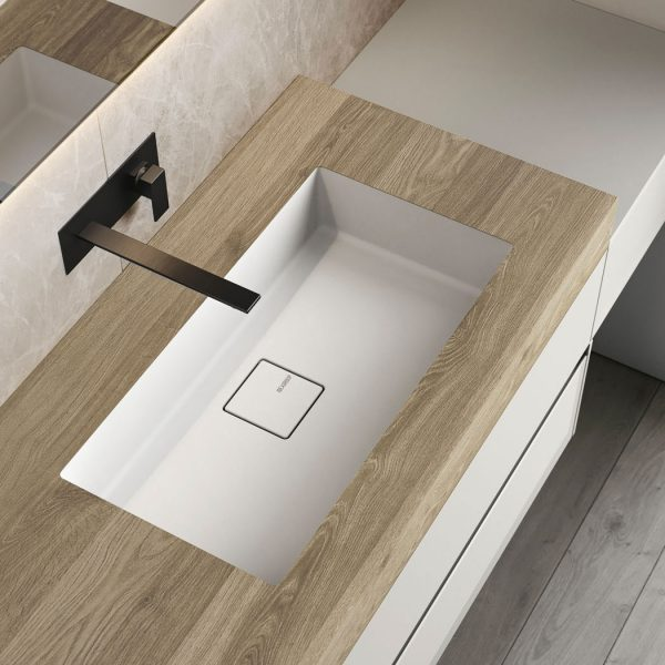Piano in HPL con lavabo integrato in Mineralsolid