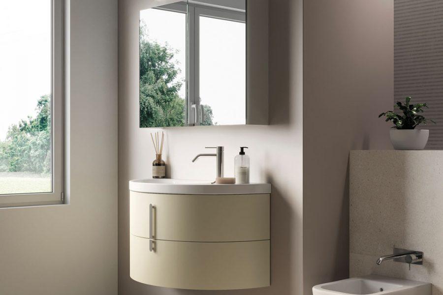 mobili bagno con lavabo curvo Moon